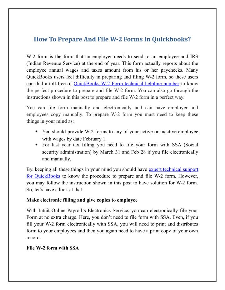 How To Prepare And File W-2 Forms In Quickbooks?