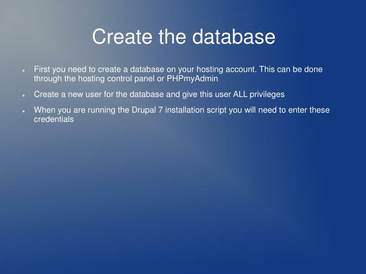 Create the database