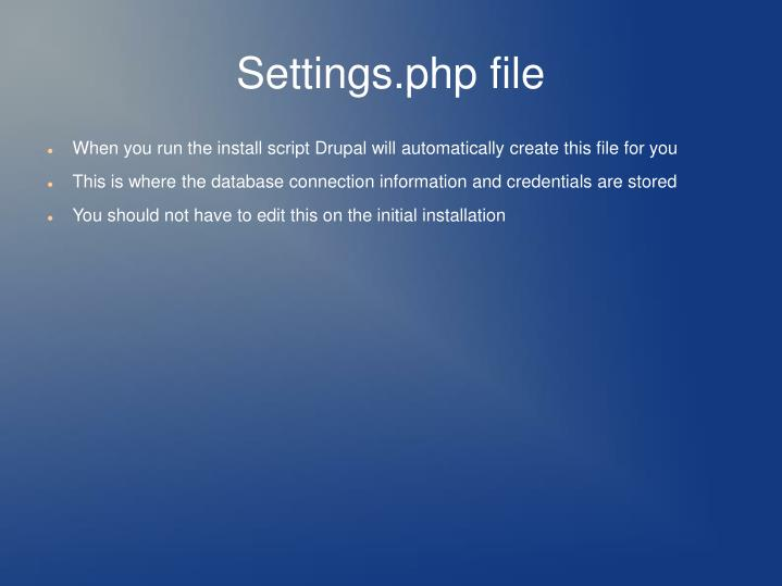 Settings.php file