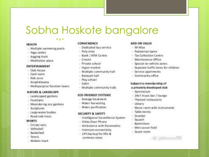 Sobha Hoskote bangalore