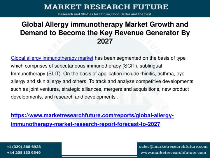 Global allergy immunotherapy market growth and demand to become the key revenue generator by 2027