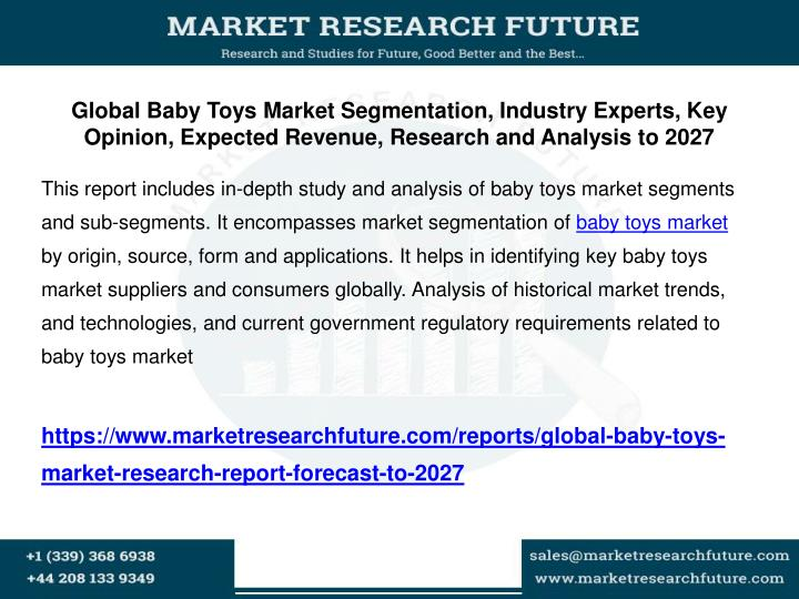 Global Baby Toys Market Segmentation, Industry Experts, Key Opinion, Expected Revenue, Research and ...