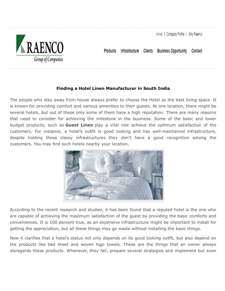 Finding a Hotel Linen Manufacturer in South India