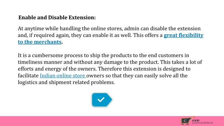 Enable and Disable Extension: