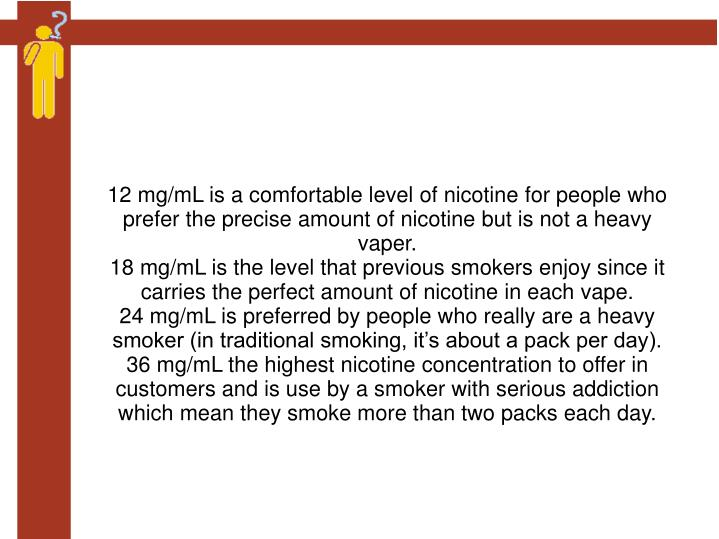 12 mg/mL is a comfortable level of nicotine for people who prefer the precise amount of nicotine but is not a heavy vaper.