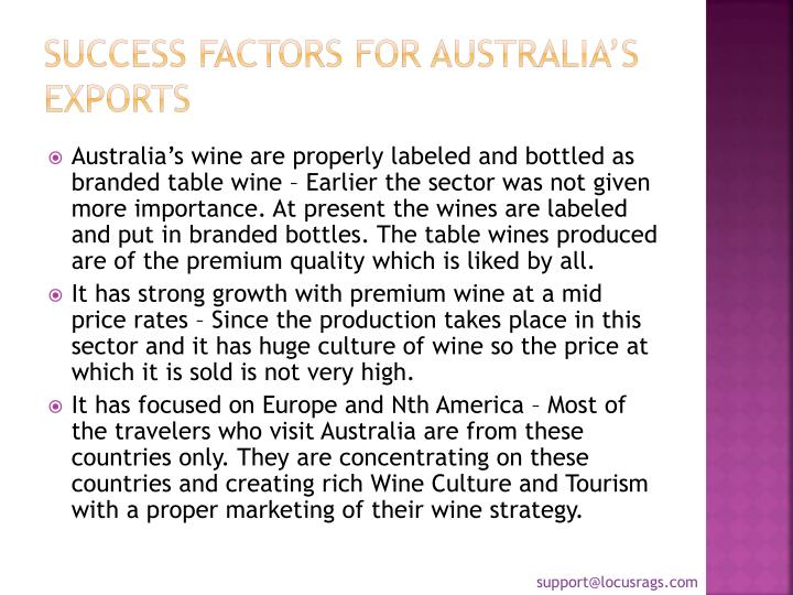 Success factors for Australia's Exports