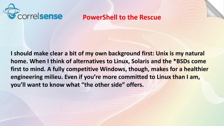 PowerShell to the Rescue
