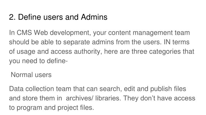 2. Define users and Admins