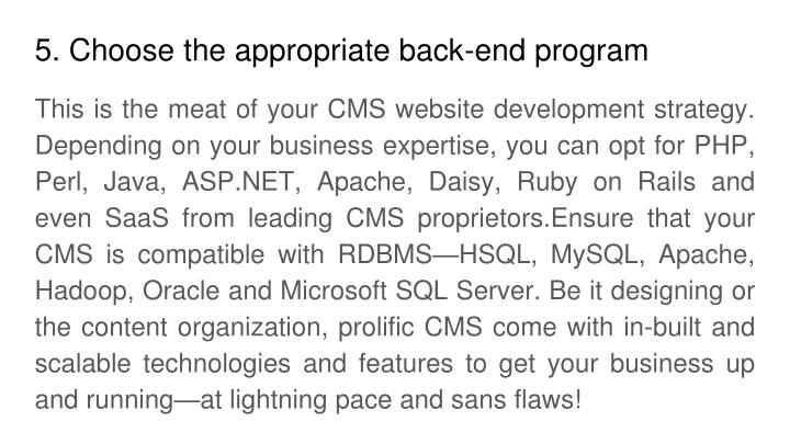 5. Choose the appropriate back-end program