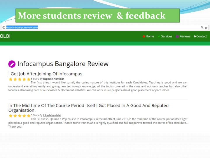 More students review  & feedback
