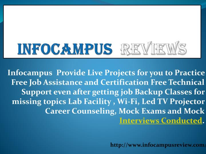 Infocampus Provide Live Projects for you to Practice