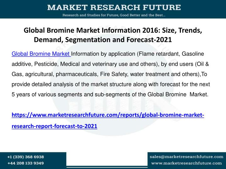 Global bromine market information 2016 size trends demand segmentation and forecast 2021