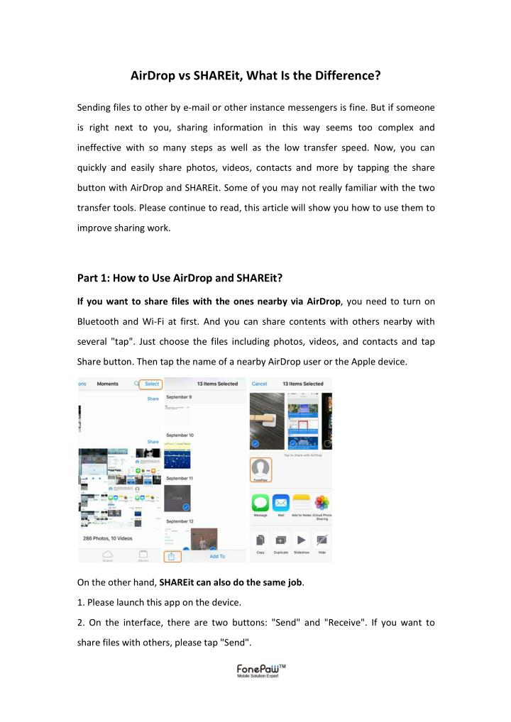 AirDrop vs SHAREit, What Is the Difference?