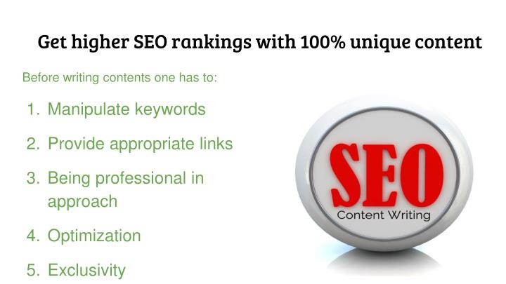Get higher SEO rankings with 100% unique content