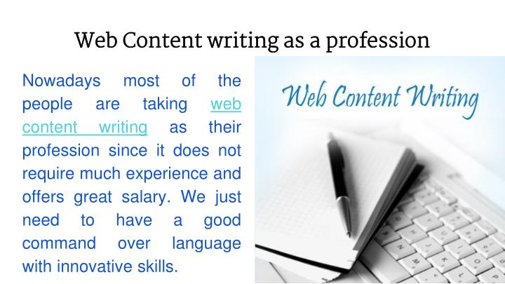 Web Content writing as a profession