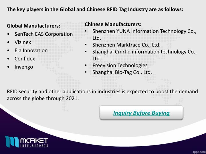 The key players in the Global and Chinese RFID Tag Industry are as follows: