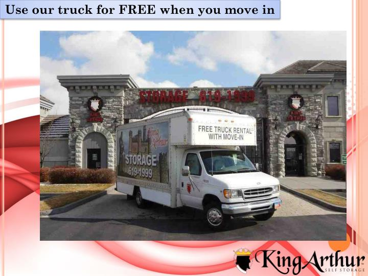 Use our truck for FREE when you move in