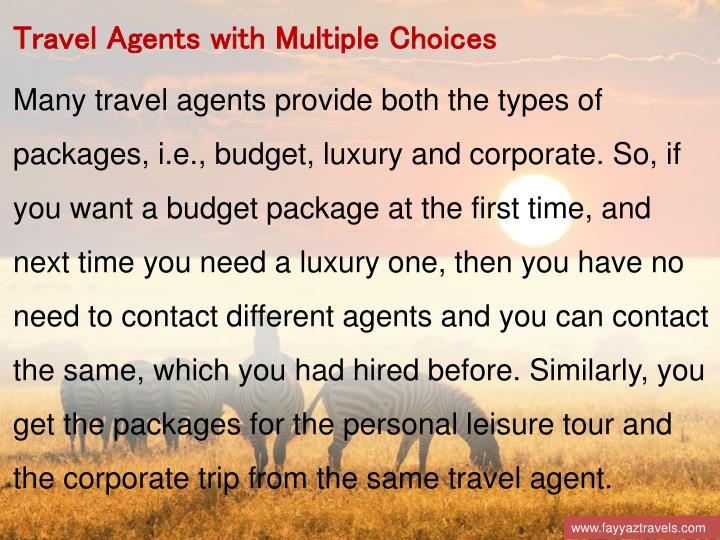 Travel Agents with Multiple Choices