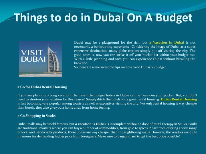 Things t o do in dubai on a budget