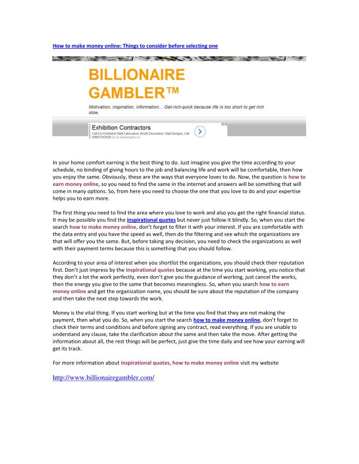 How to make money online: Things to consider before selecting one