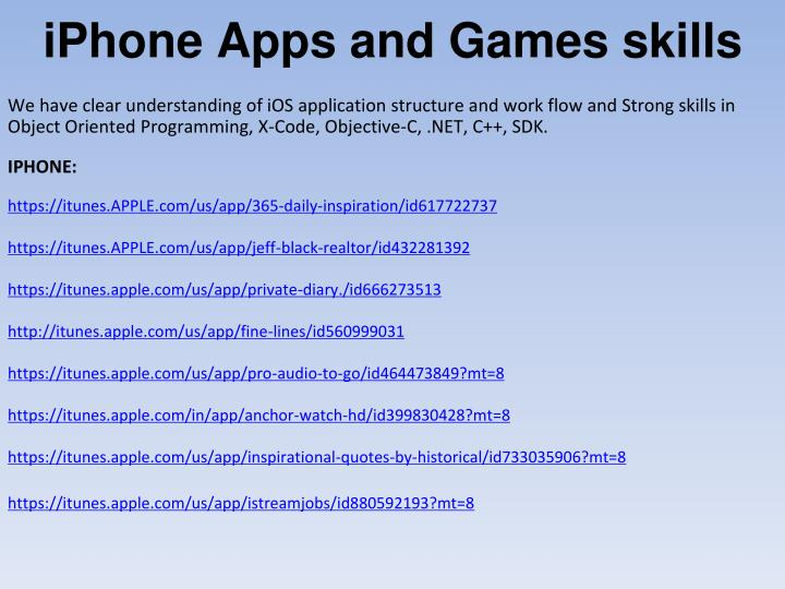 iPhone Apps and Games skills