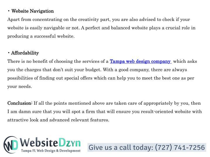 • Website Navigation
