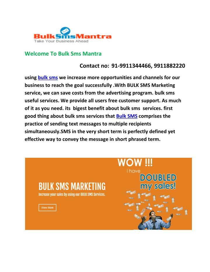 Welcome To Bulk Sms Mantra