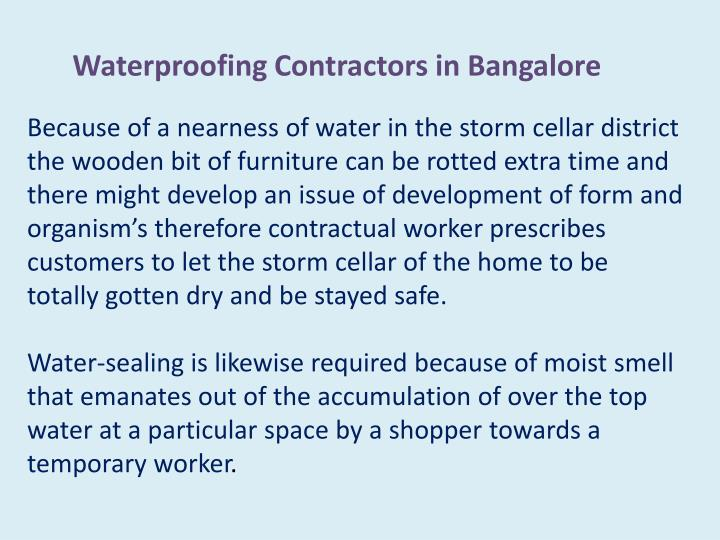 Waterproofing Contractors in Bangalore