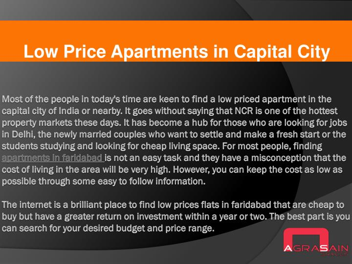 Low price apartments in capital city