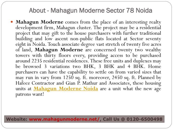 About mahagun moderne sector 78 noida