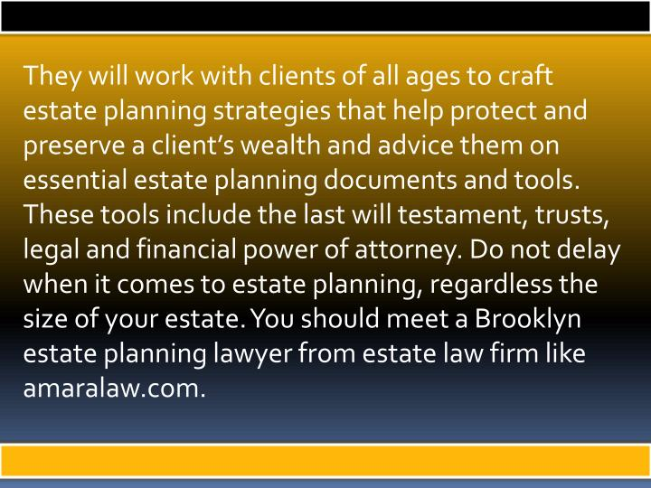 They will work with clients of all ages to craft estate planning strategies that help protect and preserve a client's wealth and advice them on essential estate planning documents and tools. These tools include the last will testament, trusts, legal and financial power of attorney. Do not delay when it comes to estate planning, regardless the size of your estate. You should meet a Brooklyn estate planning lawyer from estate law firm like amaralaw.com.