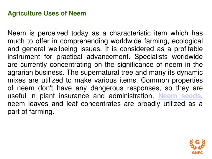 Agriculture uses of neem