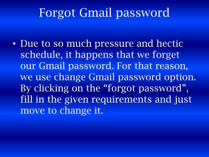 Forgot Gmail password