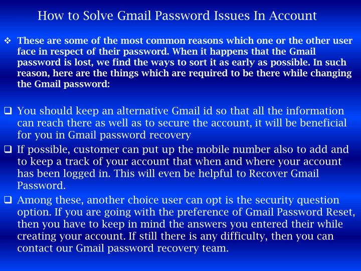 How to Solve Gmail Password Issues In Account