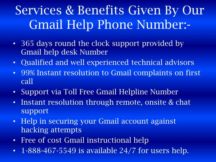 Services & Benefits Given By Our Gmail Help Phone Number:-