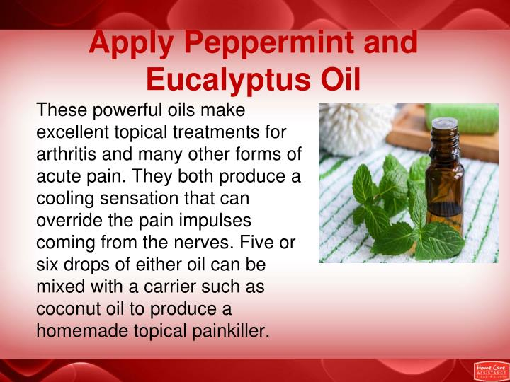 Apply Peppermint and Eucalyptus Oil