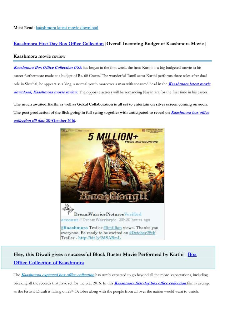 Must Read: kaashmora latest movie download