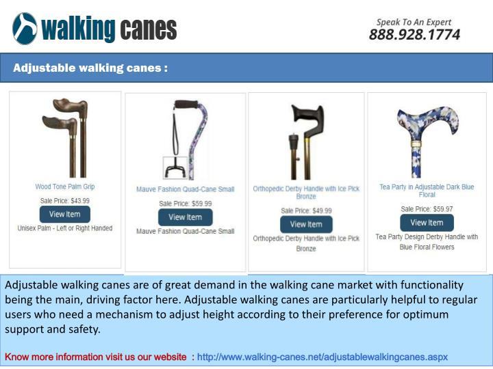 Adjustable walking canes :