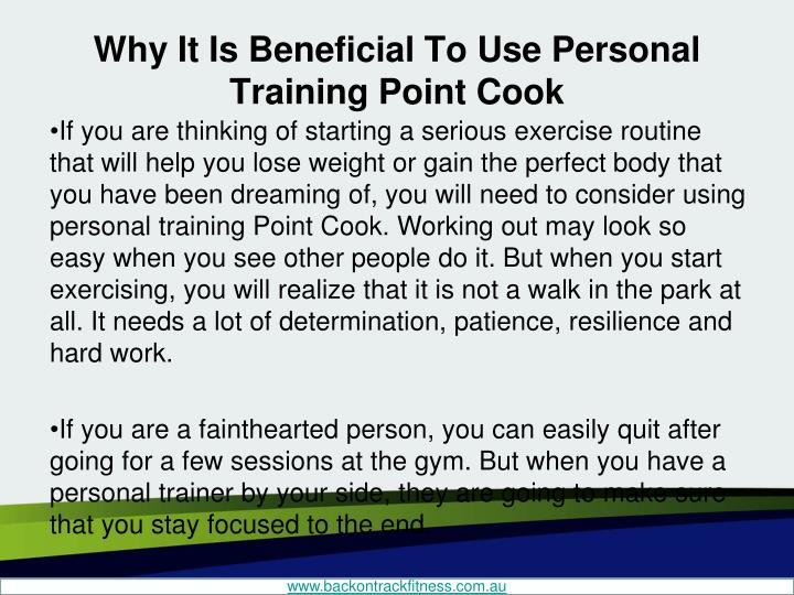 Why it is beneficial to use personal training point cook1