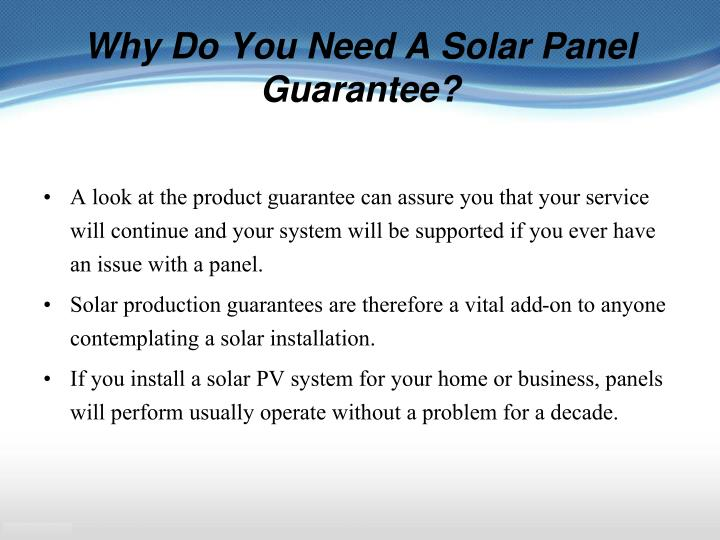 Why Do You Need A Solar Panel Guarantee?