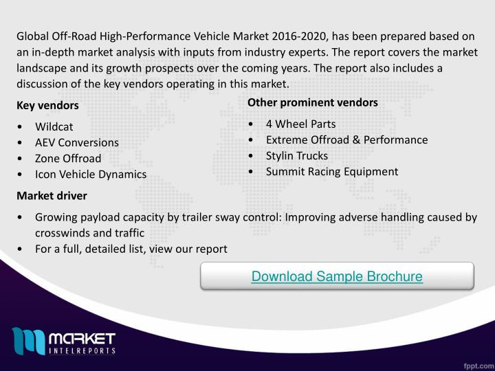 Global Off-Road High-Performance Vehicle Market 2016-2020, has been prepared based on an in-depth market analysis with inputs from industry experts. The report covers the market landscape and its growth prospects over the coming years. The report also includes a discussion of the key vendors operating in this market.