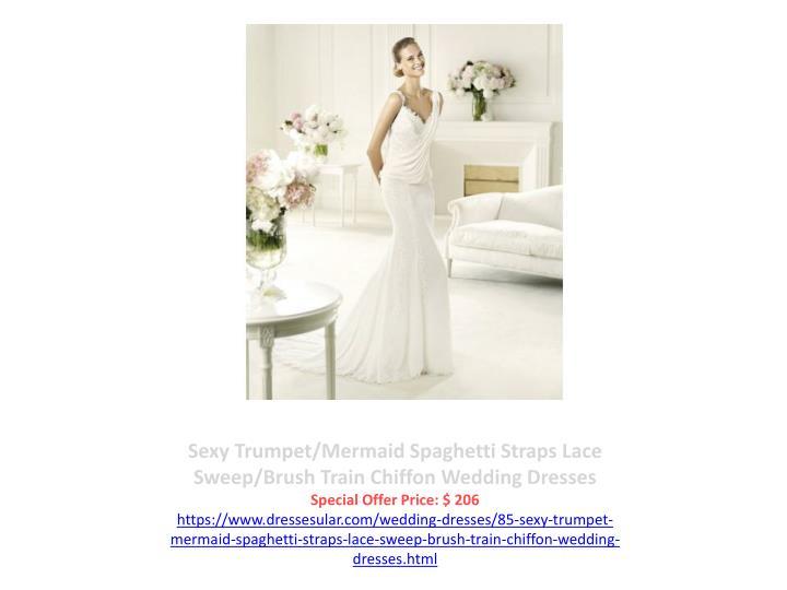 Sexy Trumpet/Mermaid Spaghetti Straps Lace Sweep/Brush Train Chiffon Wedding Dresses