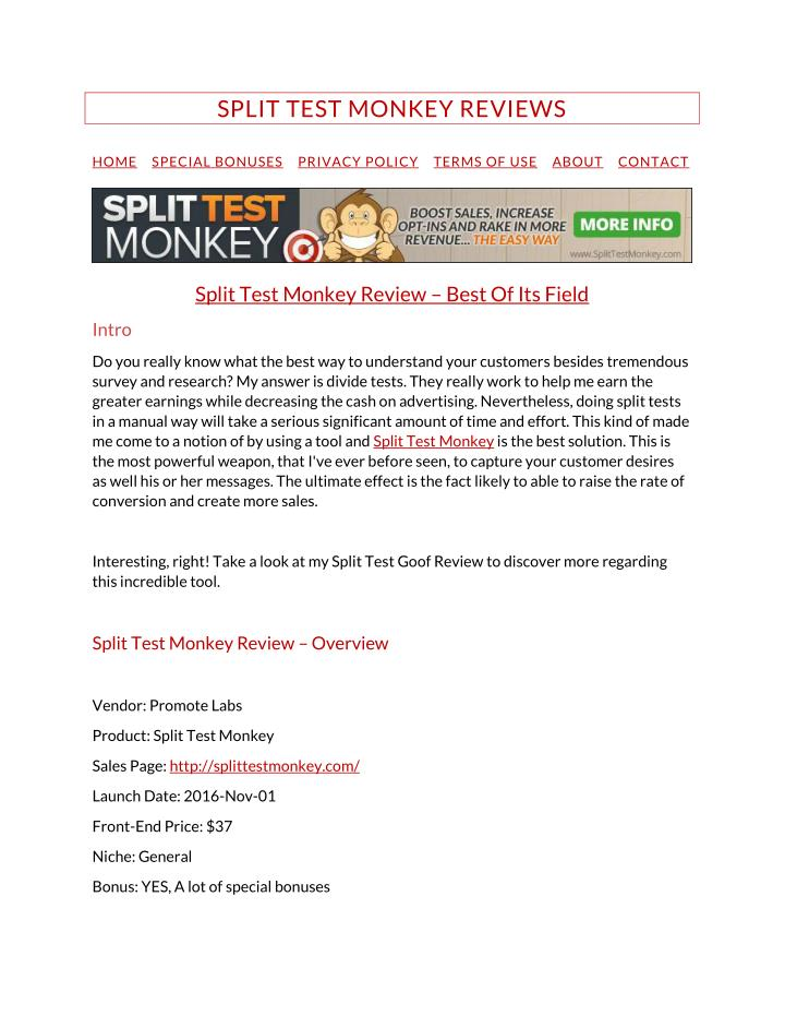 SPLIT TEST MONKEY REVIEWS