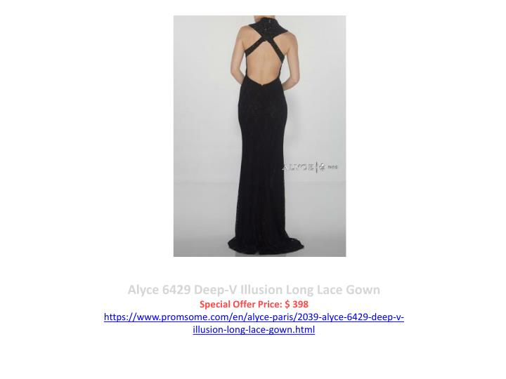 Alyce 6429 Deep-V Illusion Long Lace Gown