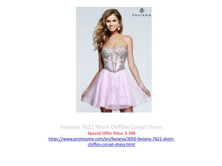 Faviana 7621 Short Chiffon Corset Dress
