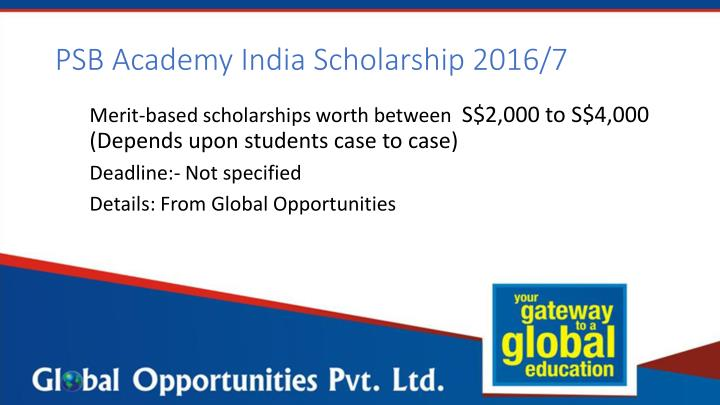 PSB Academy India Scholarship 2016/7