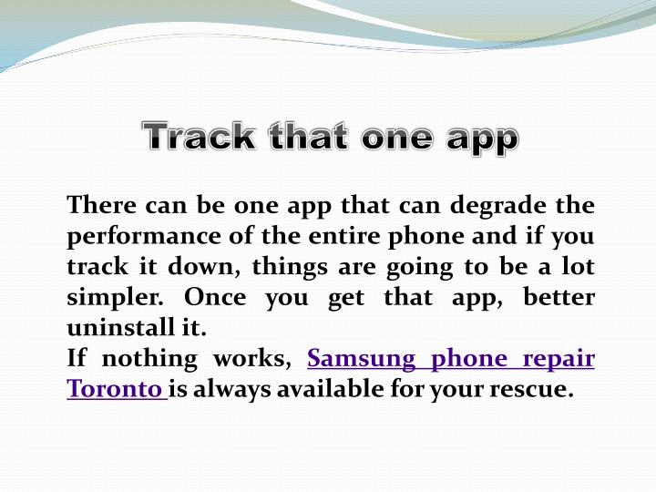 Track that one app