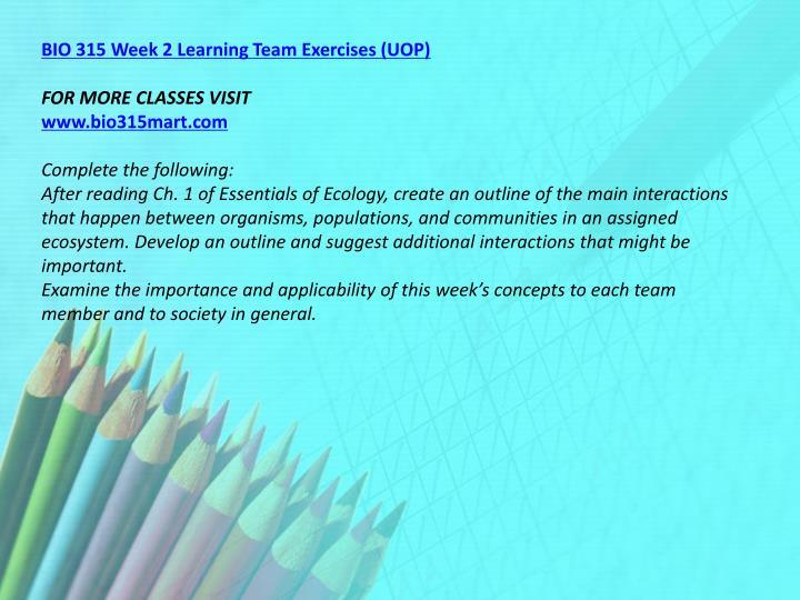 BIO 315 Week 2 Learning Team Exercises (UOP)