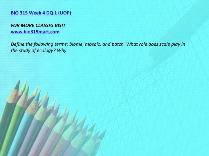 BIO 315 Week 4 DQ 1 (UOP)