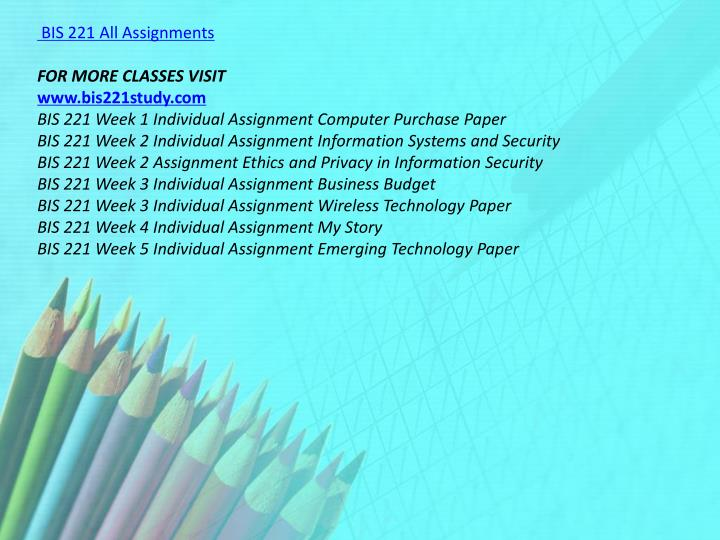 BIS 221 All Assignments